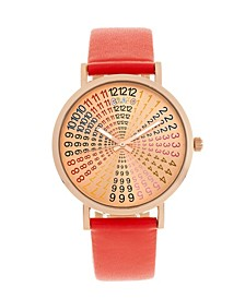 Unisex Fortune Red Genuine Leather Strap Watch 38mm