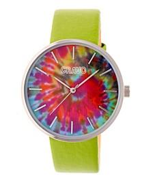 Unisex Swirl Green Leatherette Strap Watch 42mm