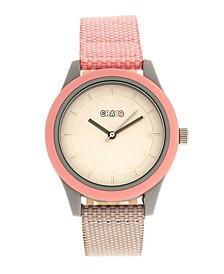 Unisex Pleasant Light Pink, Brown Leatherette Strap Watch 39mm