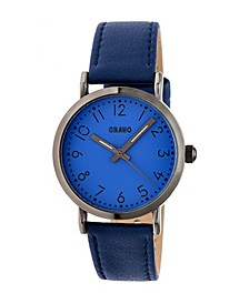 Unisex Pride Navy Genuine Leather Strap Watch 36mm