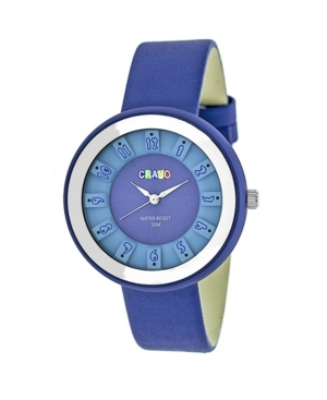 Unisex Celebration Blue Genuine Leather Strap Watch 38mm