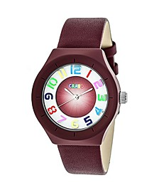 Unisex Atomic Maroon Genuine Leather Strap Watch 36mm