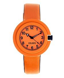 Unisex Equinox Orange, Navy Leatherette Strap Watch 40mm