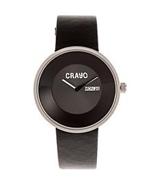 Unisex Button Black Genuine Leather Strap Watch 40mm