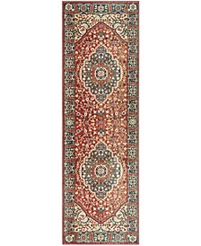 """Chloe LRL1221A Red and Navy 2'6"""" X 8' Runner Area Rug"""