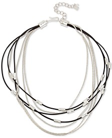 "Silver-Tone & Leather Multi-Row Necklace, 18"" + 3"" extender"
