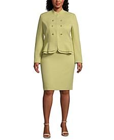 Plus Size Stand-Collar Peplum-Hem Skirt Suit