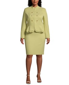 Tahari ASL Plus Size Stand-Collar Peplum-Hem Skirt Suit