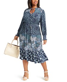 Michael Michael Kors Plus Size Three-Print Tiered Dress
