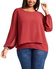 Plus Size Split-Back Layered-Look Blouse