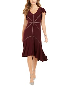 Taylor Petite Starburst High-Low Jersey Dress