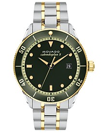 LIMITED EDITION Swiss Heritage Series Calendoplan Two-Tone Stainless Steel Bracelet Watch 43mm, Created for Macy's