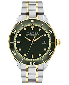LIMITED EDITION Movado Swiss Heritage Series Calendoplan Two-Tone Stainless Steel Bracelet Watch 43mm, Created for Macy's