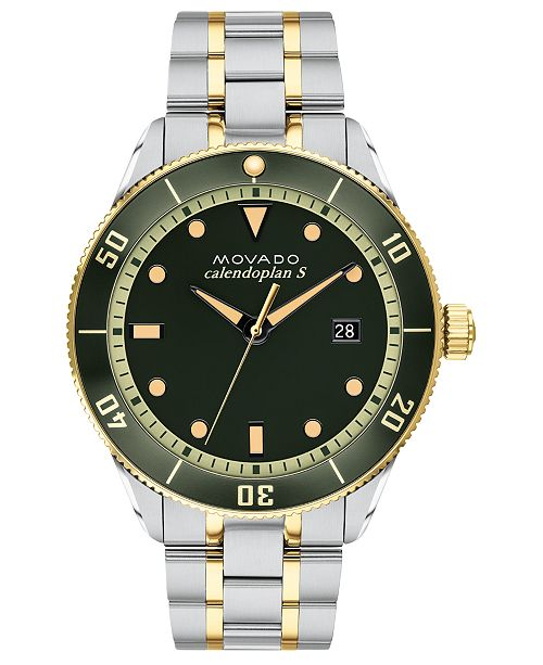 Movado LIMITED EDITION Swiss Heritage Series Calendoplan Two-Tone Stainless Steel Bracelet Watch 43mm, Created for Macy's