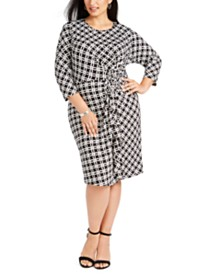 NY Collection Plus Size Twist-Front Ruffled Dress
