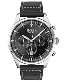 Men's Chronograph Pioneer Black Leather Strap Watch 44mm