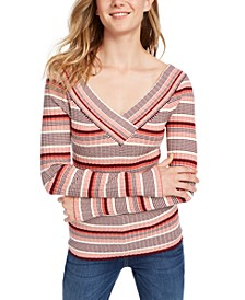 Juniors' V-Neck Striped Sweater