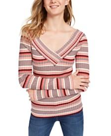 Freshman Juniors' V-Neck Striped Sweater