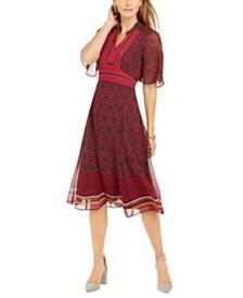 Taylor Mixed-Print Midi Dress