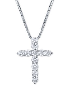 "Diamond 18"" Cross Pendant Necklace (2 ct. t.w.) in 14k White Gold"