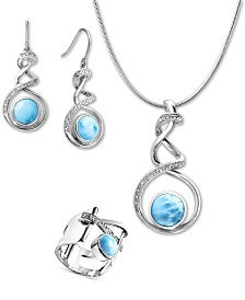 Marahlago Larimar Dante Jewelry Collection in Sterling Silver