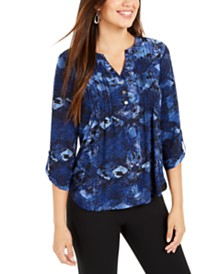 NY Collection Petite Pleated Floral Blouse