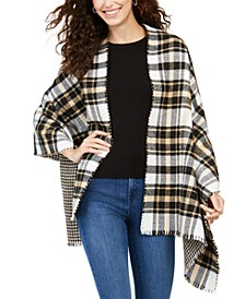 Reversible Houndstooth To Plaid Wrap, Created for Macy's