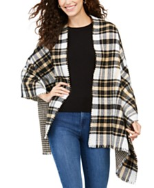 Charter Club Reversible Houndstooth To Plaid Wrap, Created for Macy's