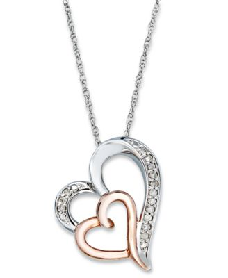 Diamond Double Heart Pendant Necklace in Sterling Silver and 14k
