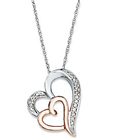 Diamond Double Heart Pendant Necklace in Sterling Silver and 14k Rose Gold  (1/10 ct. t.w.)