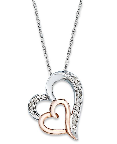 Macy's Diamond Double Heart Pendant Necklace in Sterling Silver and 14k Rose Gold  (1/10 ct. t.w.)