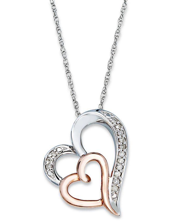Macy's - Diamond Double Heart Pendant Necklace in Sterling Silver and 14k Rose Gold  (1/10 ct. t.w.)
