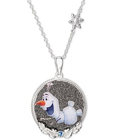 "Children's Frozen Olaf Crystal Pendant in Sterling Silver, 16"" + 2"" Extender"