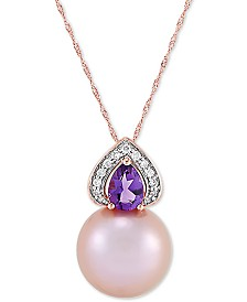 "Honora Cultured Pink Ming Pearl (13mm), Diamond (1/10 ct. t.w.) & Amethyst (5/8 ct. t.w.) 18"" Pendant Necklace in 14k Gold"