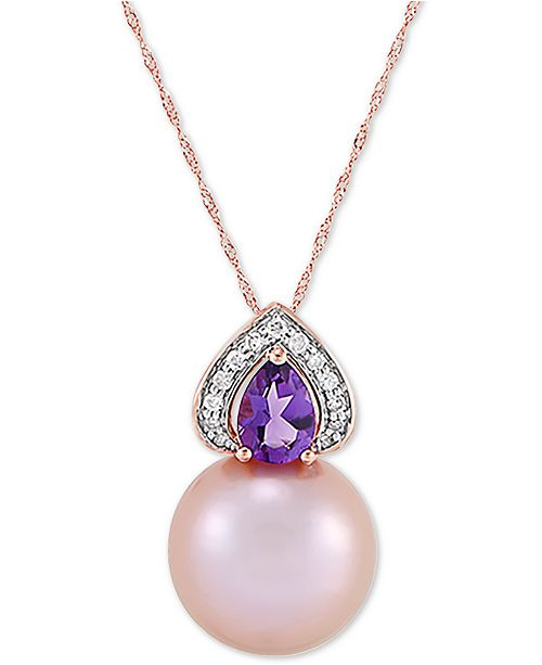 """Honora Cultured Pink Ming Pearl (13mm), Diamond (1/10 ct. t.w.) & Amethyst (5/8 ct. t.w.) 18"""" Pendant Necklace in 14k Gold"""