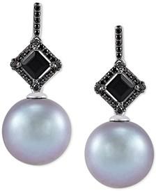 Cultured Grey Ming Pearl (12mm), Black Diamond (1/10 ct. t.w.) & Onyx (6mm) Drop Earrings in 14k White Gold