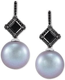 Honora Cultured Grey Ming Pearl (12mm), Black Diamond (1/10 ct. t.w.) & Onyx (6mm) Drop Earrings in 14k White Gold