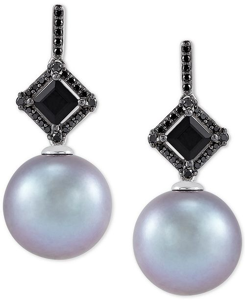 Honora Cultured Grey Ming Pearl (12mm), Black Diamond (1/10 ct. t.w.) & Onyx (6mm) Drop Earrings in 14k White Gold