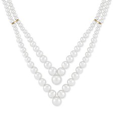"Cultured Freshwater Pearl (3 - 9mm) Layered V 17-1/2"" Statement Necklace in 14k Gold"