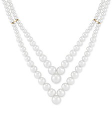 "Honora Cultured Freshwater Pearl (3 - 9mm) Layered V 17-1/2"" Statement Necklace in 14k Gold"