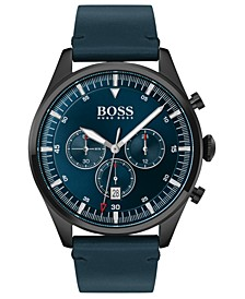 Men's Chronograph Pioneer Blue Leather Strap Watch 44mm