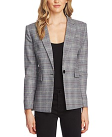 Glen Plaid Notch-Collar Blazer