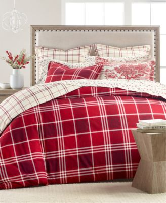Ticking Plaid Flannel Twin Duvet Cover, Created for Macy's