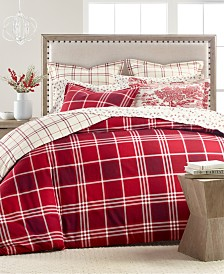 Martha Stewart Collection Ticking Plaid Flannel Full/Queen Duvet Cover, Created for Macy's