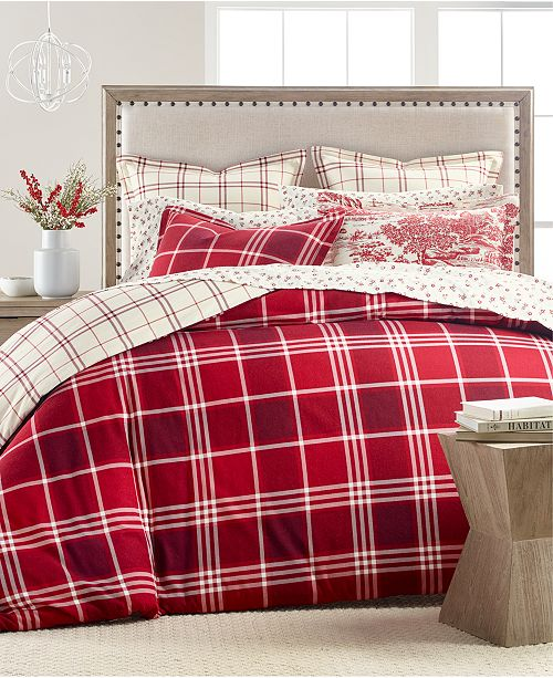 Martha Stewart Collection Ticking Plaid Flannel Bedding Collection, Created for Macy's