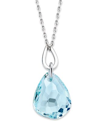 Swarovski necklace rhodium plated light azore crystal pendant swarovski necklace rhodium plated light azore crystal pendant necklace aloadofball Image collections