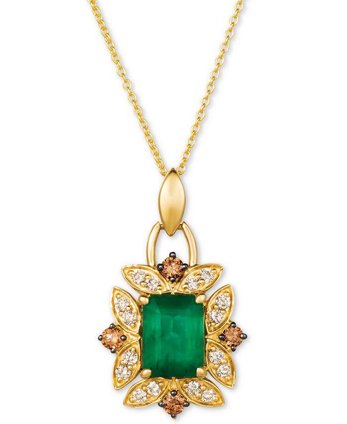 """Le Vian - Costa Smeralda Emerald (1-1/5 ct. t.w.) & Diamond (3/8 ct. t.w.) 20"""" Pendant Necklace in 14k Gold"""