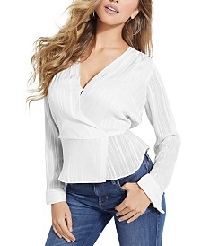 GUESS Adiva Shadow-Striped Peplum Top