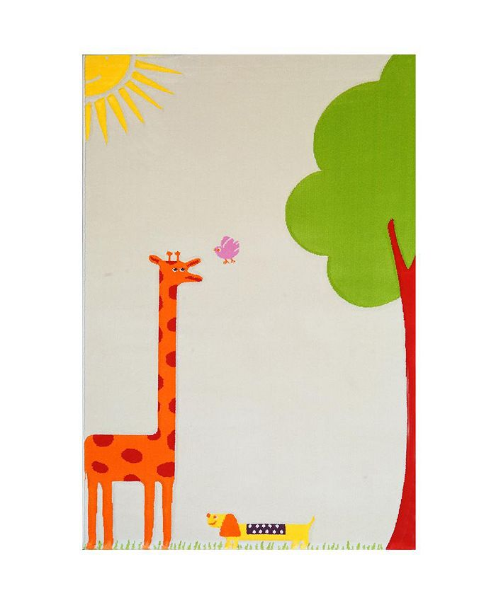 """IVI - Giraffe Cream Soft Nursery Rug with a Playful Design for Kids Bedrooms and Playrooms, Non-Toxic, Hypo-Allergnic, 59""""L x 39""""W"""