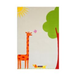 "Ivi Giraffe Cream Soft Nursery Rug with a Playful Design - 59""L x 39""W Playmat"